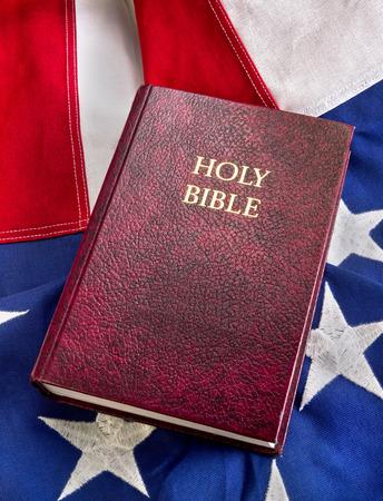 Bible on American flag.