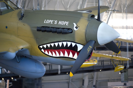 Sept, 2013 - Chantilly,VA   Curtiss P- 40E , painted  Lopes Hope in memory of  pilot and World War II ace, former Deputy Museum Director Donald S. Lopez, Smithsonian National Air and Space Museum.