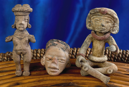 indian artifacts: Pre Columbian figures made around 100 BC to 600 AD. Stock Photo