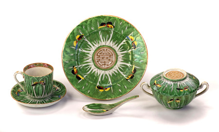 Import Chinese cabbage leaf 19th century butterflies famille verte porcelain.