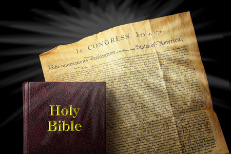declaration: American religious freedom showing Bible and Declaration of Independence.