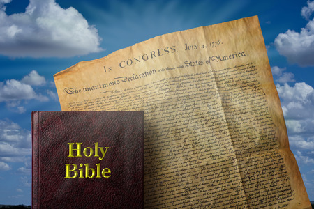 Holy Bible and American Declaration of Independence.