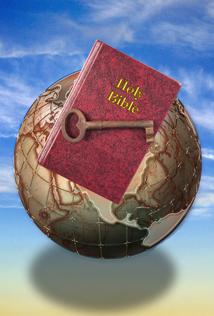 Holy Bible and key to life. Stock Photo