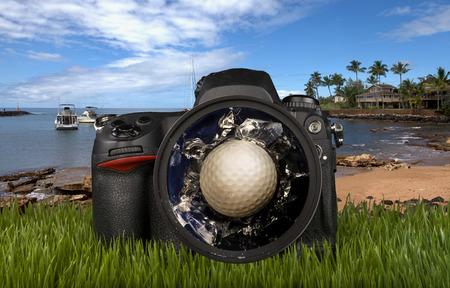Broken camera lens at a day of golf.