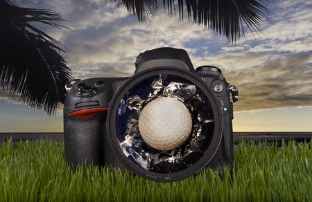 Golf ball through the camera lens.