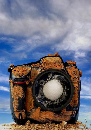 Golf ball through dirty broken camera. photo