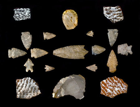 indian artifacts: Texas arrowheads and pottery shards made around 1500 years ago.