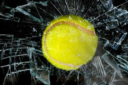 glass break: Flying tennis ball through broken glass.