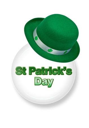 leprechaun on clover: Saint Patricks Day with green Leprechaun hat. Stock Photo