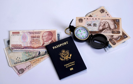 oversea: American traveler with world currency.