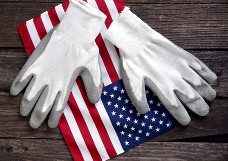 American flag and work gloves.