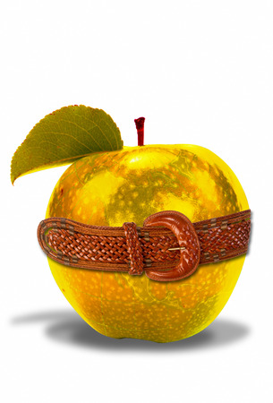 goldish: Golden apple with leather belt around waist.