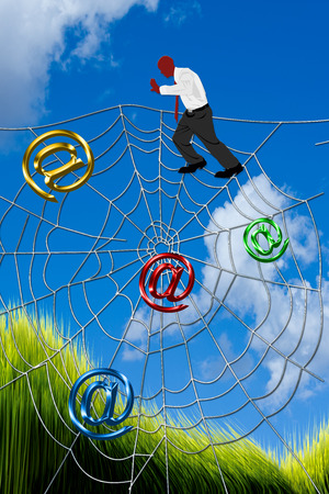 technology transaction: Man on top of spider web.