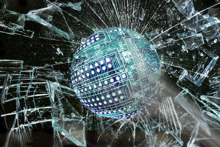 broken through: High tech circuit ball going through broken window.