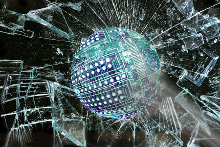 window pane: High tech circuit ball going through broken window.
