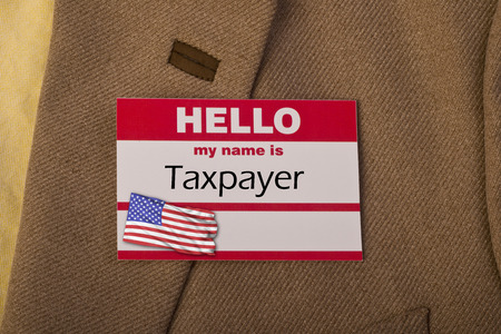 hello my name is: Hello my name is taxpayer. Stock Photo