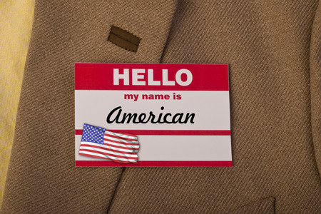 hello my name is: Hello my name is American. Stock Photo