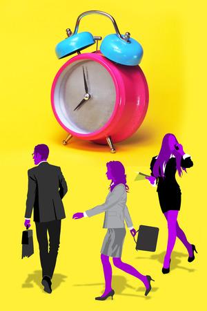 jornada de trabajo: Tiempo para un d�a de trabajo en la oficina. Foto de archivo