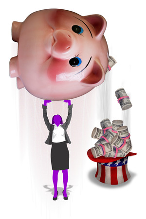 Shaking the pink piggy bank for cash. photo