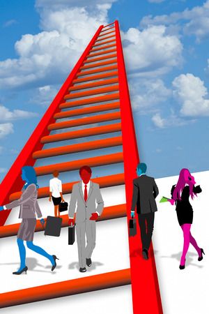 Business folks step up to the ladder of success.