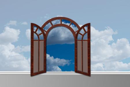 doorway: Doorway open to heaven. Stock Photo