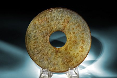 dynasty: Chinese jade bi made in the Han Dynasty around 220 AD. Stock Photo