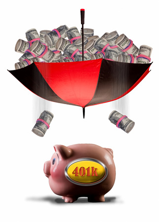 payday: Payday of cash into 401K pink piggy bank.