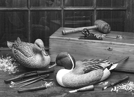 decoy: Old carved antique wooden ducks in black and white.