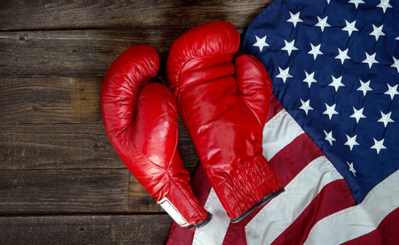 boxing glove: Boxing gloves and American flag with room for your type.