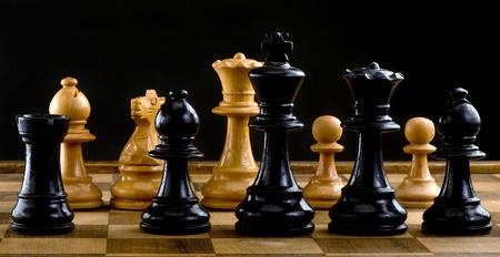ajedrez: Los jugadores de ajedrez un juego de guerra. Foto de archivo