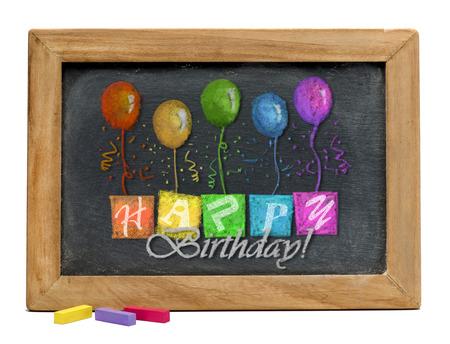Happy birthday on black chalkboard.