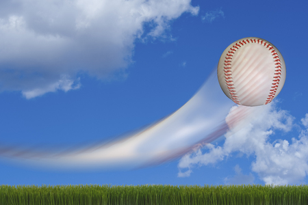 hardball: Fast baseball going through the air with room for your type. Stock Photo