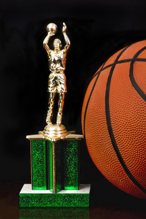 b ball: Basketball trophy and B ball.