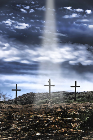 The three old wooden crosses on the hill.
