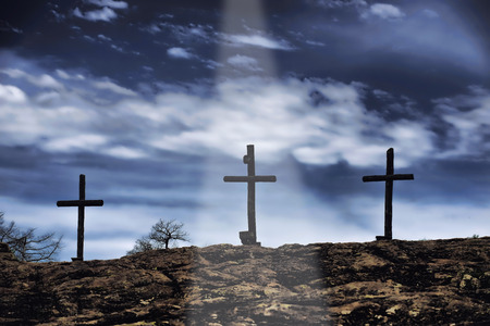 hill of the king: The old rugged wooden cross of the christian church. Stock Photo