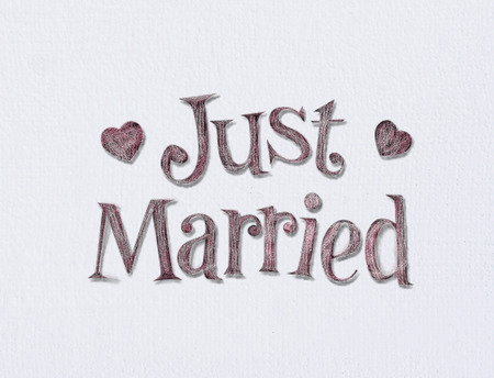 Just married on white art board with room for your type.