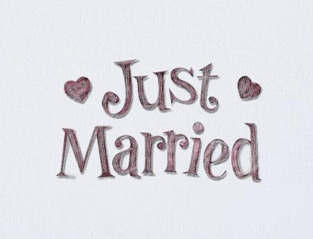 recien casados: Sólo se casó a bordo arte blanco con espacio para su tipo.