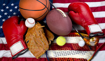 b ball: American sports showing boxing,baseball,tennis,basketball,football, and golf. Stock Photo