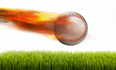 Fast baseball on fire in flight.