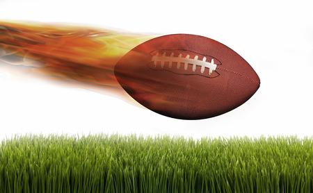 fierce competition: Football on fire speeding through the air.