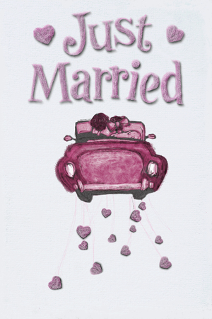 Just married on white art paper.