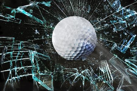 Fast golf ball through broken window.