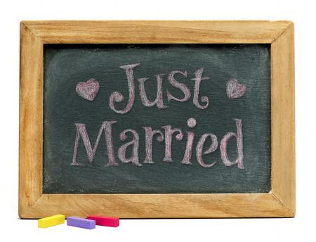 smudged: Just married sign on black chalkboard.