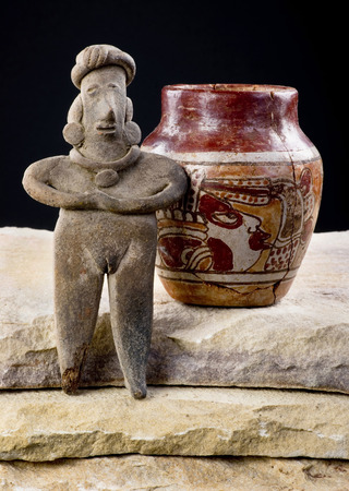 indian artifacts: Pre Columbian Colima woman and painted pottery made around 200 BC to 600 AD.