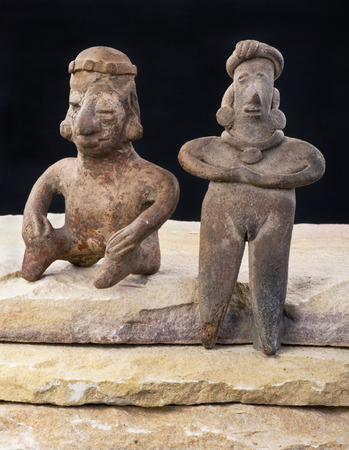 indian artifacts: Pre Columbian Colima woman and warrior made around 200 BC .