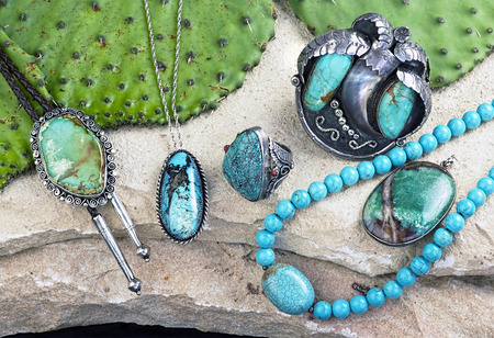 Old Native American Navajo indian turquoise jewelry. Stock Photo