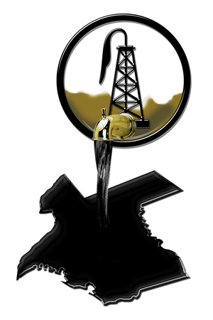 oilwell: Texas booming oil field industry pouring black gold.