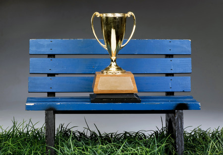 benches: A trophy on blue bench