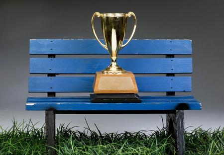 trofeo: Un trofeo en el banco azul