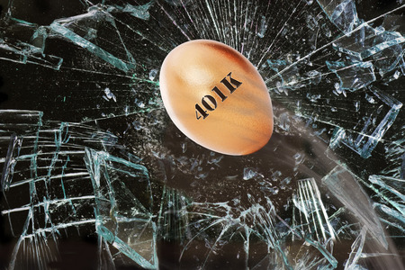 Broken 401K golden nest egg through window. Stock Photo